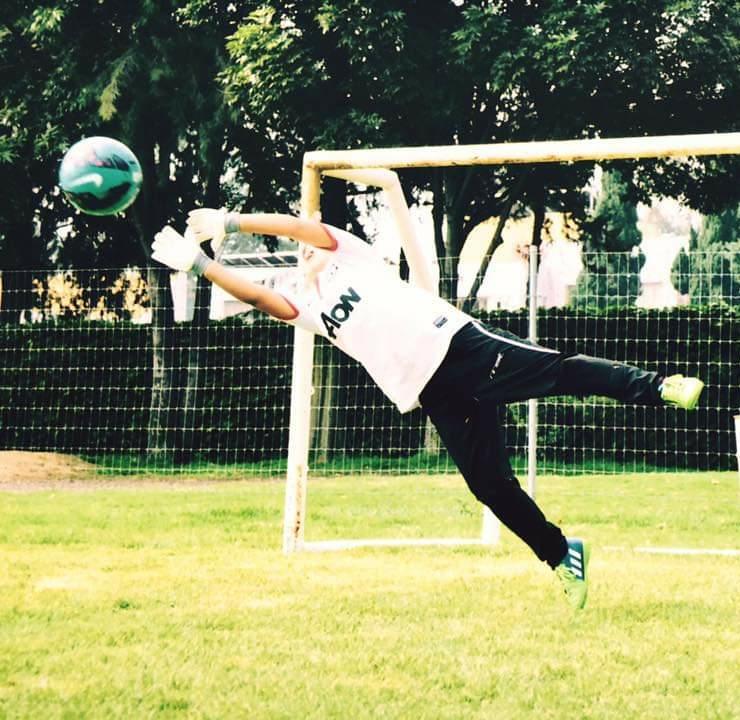 entrenamiento en el portero de fútbol